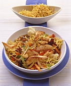 Egg noodles with turkey and Asian vegetables