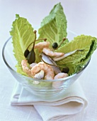 Romaine lettuce with anchovies, shrimps and giant capers