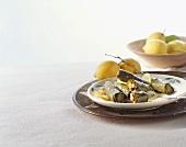 Stuffed vine leaves with lemons, from Turkey
