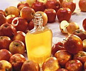 Apple vinegar in bottle, surrounded by fresh apples