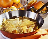 Crepes suzette in frying pan