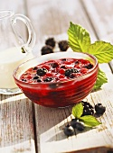 Red fruit compote with vanilla cream