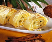 Pineapple strudel with coconut and pistachios