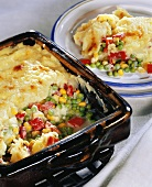 Vegetable bake with mashed potato topping