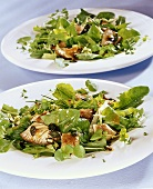 Herb salad with oyster mushrooms and pumpkin seeds