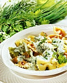 Farfalle with herb cheese sauce
