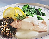 Salmon fillet on mousseline sauce with spinach