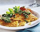 Millet pancake with herb pesto