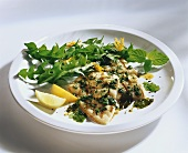 Halibut with garlic, mint and dandelion salad