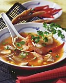 Spicy shrimp soup with galanga