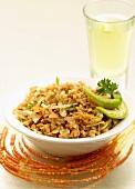 Soya Upma (semolina with ginger and cashew nuts, India)