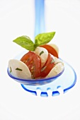 Mozzarella with tomatoes and basil on salad servers