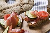Ruisleipä (bread, Finland) with ham, tomato, cucumber