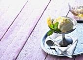 Lemon yoghurt ice cream with fresh mint