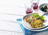 Courgette rosti, olives and red wine (Greece)
