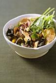 Mushroom salad with goose liver