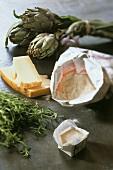 Ingredients for artichoke pizza