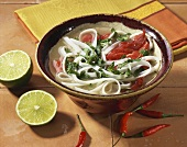 Spicy rice noodle soup with beef and herbs (Vietnam)