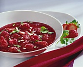 Berry soup with coriander leaves