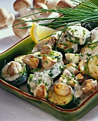 Courgettes with mushrooms and chives