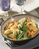 Scampi and sole with carrots and green beans