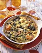 Seafood gratin with sorrel