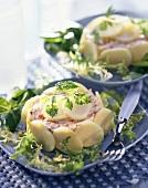 Herring cream with potatoes and salad garnish
