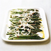 Roasted green asparagus with Parmesan shavings