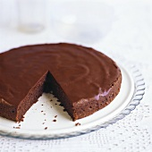 Chocolate almond cake, a piece taken