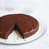 Chocolate almond cake, a piece taken