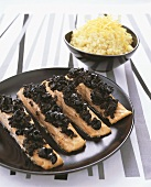 Salmon with tapenade and lemon risotto