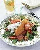 Salmon salad with sweet potatoes, walnuts & cheese dressing