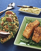 Salmon with paprika, couscous with lentils & figs, hummus