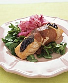 Salmon wrapped in Parma ham with mashed potato & beetroot