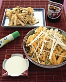 Buckwheat with pumpkin & enokitake mushrooms, wasabi dip (Japan)