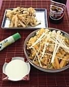 Buckwheat with pumpkin & enokitake mushrooms, wasabi dip (Japan)