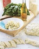 Gnocchi al basilico (Basil gnocchi with Parmesan, Italy)