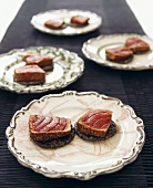 Tuna on sesame crackers