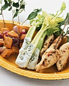 Sweet potato skewers, rosemary chicken and celery