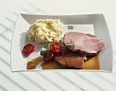 Surbraten (corned pork) with celery-mashed potato