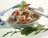 Veal fillet with shrimps on sorrel sauce