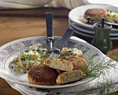 Fish cakes with potato salad and dill
