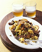 Hash with beef, egg and potatoes
