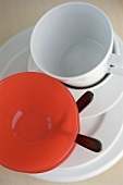 White and red tableware