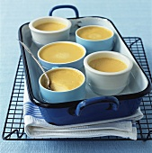 Vanilla custards in a bain-marie