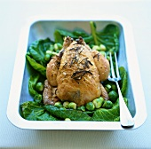 Roast chicken with rosemary and Brussels sprouts