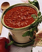 Tomato and pepper sauce in a pot