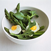 Green asparagus with fried quail's eggs