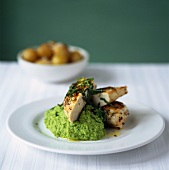 Chicken breast with pea puree