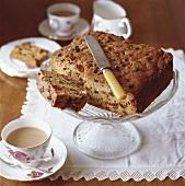 Traditional fruit cake and tea (England)